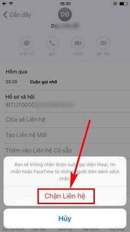 chặn cuộc gọi trên iPhone