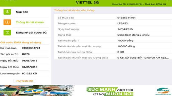 Cách kiểm tra dung lượng 3g Viettel trên iPad