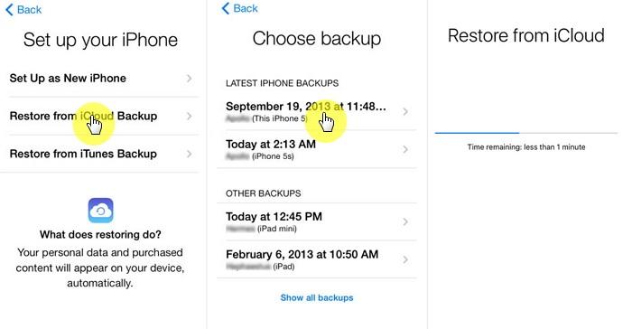 Cách khôi phục tin nhắn imessage trên iphone từ Sao lưu iCloud